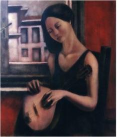 La musicista (memorie della stanza rossa)_oil on canvas_cm. 60x80_2004, Turin, Italy, private Collection