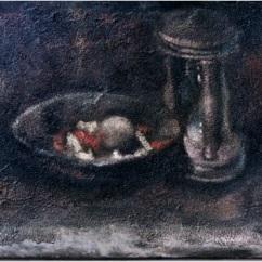 Natura morta con clessidra_oil on canvas_cm. 35x45_1999